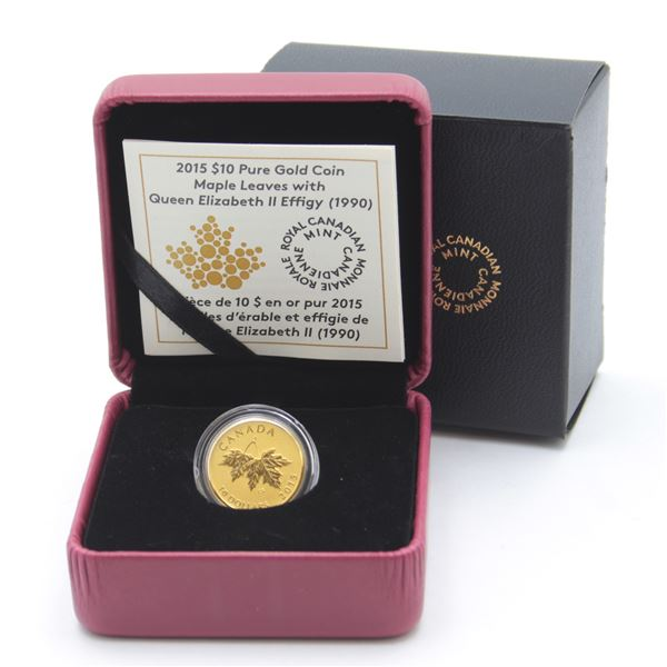2015 $10 Maple Leaves 1990 Effigy 1/4oz Fine Gold Coin. Low mintage of only 1000!!! (TAX Exempt)