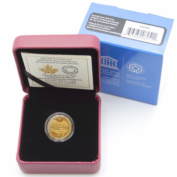 2015 $50 UNESCO Mount Fuji & Canadian Rockies 1/4oz Fine Gold Coin. Mintage of only 2000! (TAX Exemp