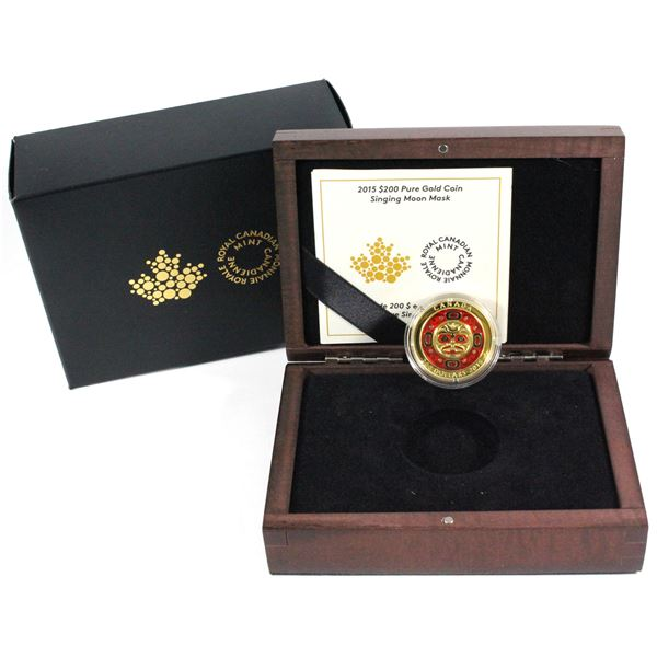 2015 $200 Singing Moon Mask Fine Gold Coin. Mintage of only 300! (TAX Exempt)
