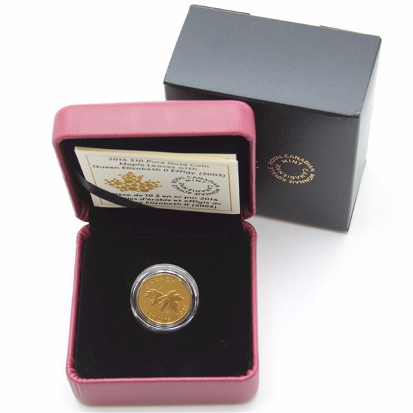 2016 $10 Maple Leaves with 2003 Effigy 1/4oz Fine Gold Coin. Low mintage of only 1000!!! (TAX Exempt