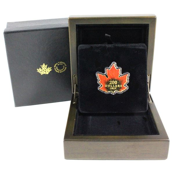 2017 $200 Autumn Fire 1oz Maple Leaf Shaped Fine Gold Coin with Gradience Colouring Technology. Mint