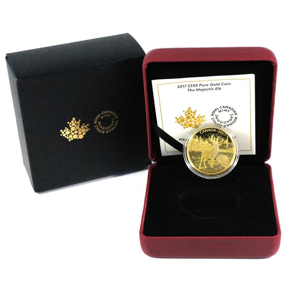 2017 $350 The Majestic Elk  5 9's Fine Gold Coin. (1.125 ozt)  Mintage of only 400! (TAX Exempt)