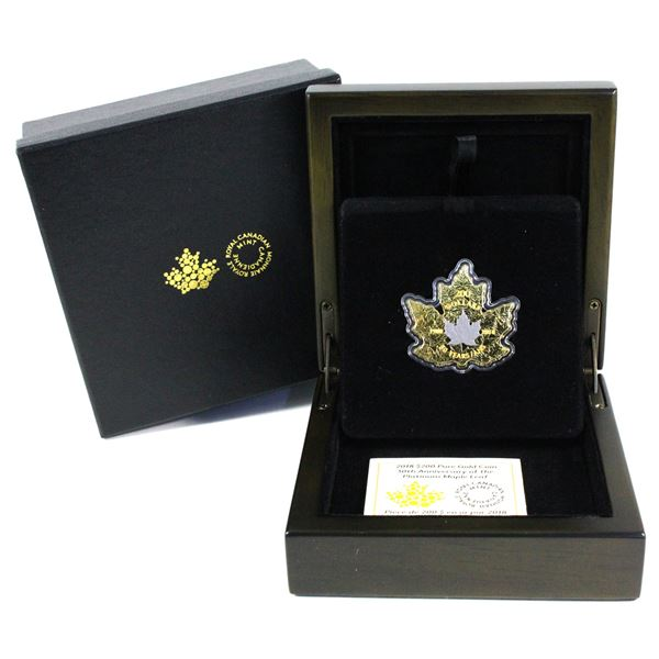2018 $200 30th Anniversary of the Platinum Maple Leaf Fine Gold Coin with Platinum Plating. Mintage
