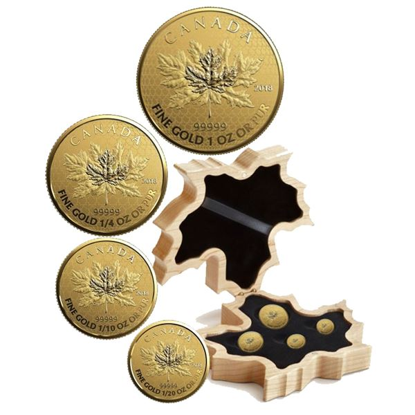 2018 The Maple Leaf .99999 Fine Gold Fractional 4-coin Set. Features 1oz, 1/4oz, 1/10oz & 1/20oz den