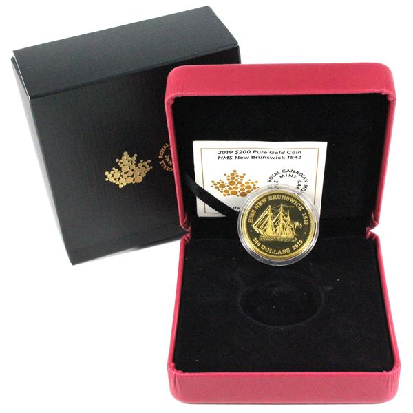 2019 $200 HMS New Brunswick 1843 1oz Fine Gold Coin. Mintage of only 250! (TAX Exempt)