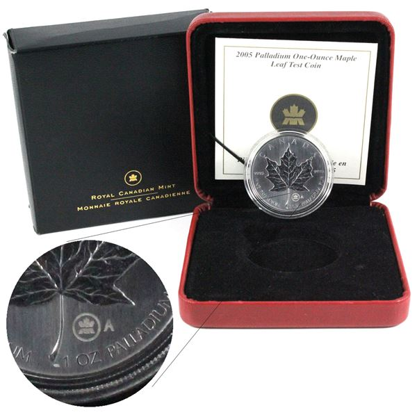 2005 $50 1oz Fine Palladium Maple Leaf Test Coin A in Original Packaging. Mintage of only 290! (TAX