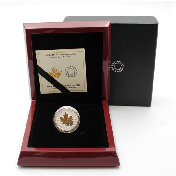 2018 $300 Maple Leaf Forever Fine Platinum Coin with Gold Plating. COA #066 out of only 250!!! (TAX