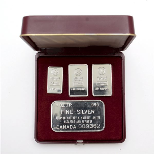 ULTRA RARE! Johnson Matthey & Mallory Fine Silver Fractional Set in Original Case (Tax Exempt). Set