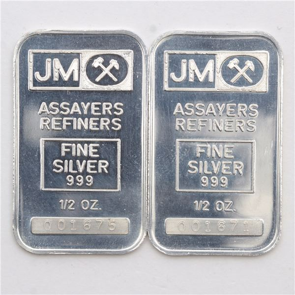 Scarce 2x Johnson Matthey 1/2oz Fine Silver Bars with Blank Reverse (Tax Exempt) Serial # 001671, #0