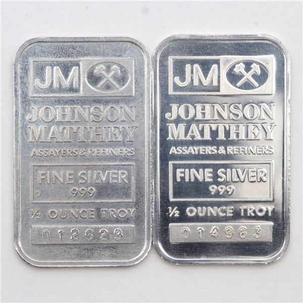 Scarce 2x Johnson Matthey 1/2oz Fine Silver Bars with 'JM' Logo Reverse (Tax Exempt) Serial #014963,