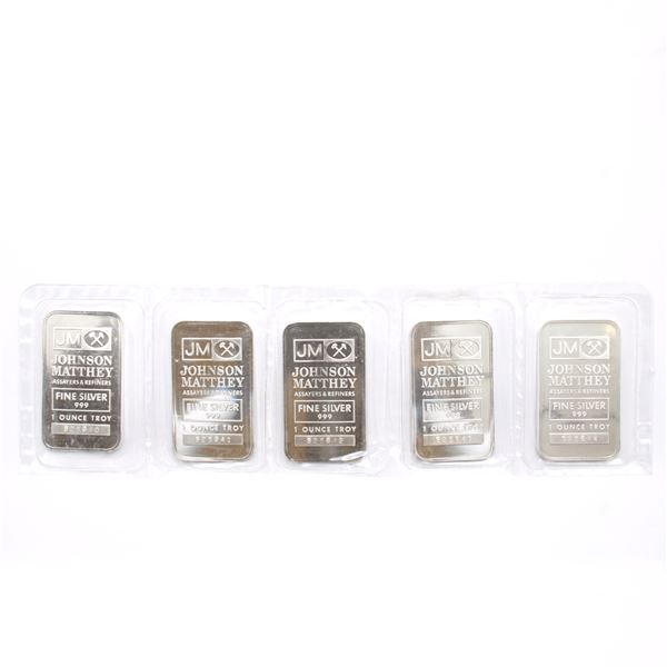 Scarce! Consecutive Johnson Matthey 1oz 'SOOTERS' Fine Silver Promotional Bars (Tax Exempt) You will