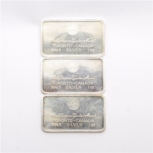 3x Vintage Jacques Cartier Mint - Toronto Canada 1oz Fine Silver Bars (TAX Exempt). 3pcs.