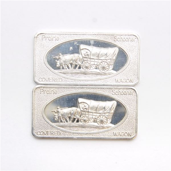 2x Patrick Mint, San Francisco 'Covered Wagon' 1oz Fine Silver Art Bars (Tax Exempt) 2pcs