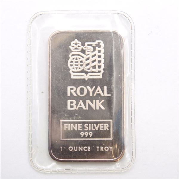 Rare! 1989 Johnson Matthey ' Royal Bank ' 1oz Fine Silver Bar (Tax Exempt) Serial # 002032.