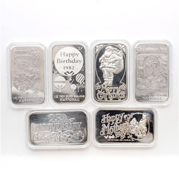6x Vintage 1oz Fine Silver Art Bars (Tax Exempt) You will receive 6 unique bars in this collection.
