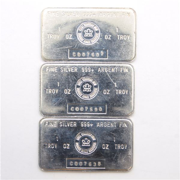 3x Vintage RCM 1oz 'C Series' Fine Silver Bars (Tax Exempt) Serial # C007590, #C007607, and #C007638
