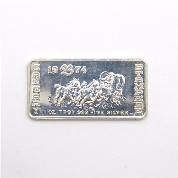 Scarce! 1974 'The Bay' Calgary Stampede 1oz Fine Silver Art Bar (Tax Exempt) Serial # 02605.