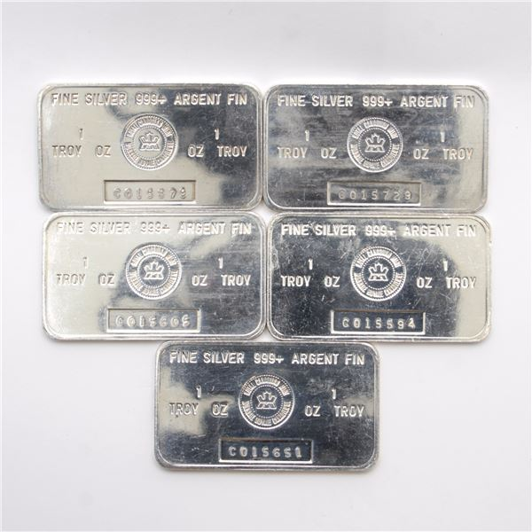 5x Vintage RCM 1oz 'C Series' Fine Silver Bars (Tax Exempt). Serial # C015605, #C015594, #C015651, #