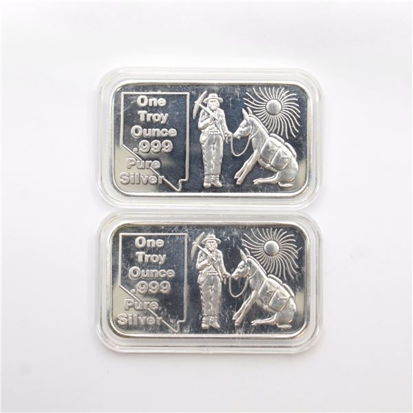 2x Nevada The Silver State 1oz Fine Silver Art Bars by Carlino Silver Co. (Tax Exempt) 2pcs.