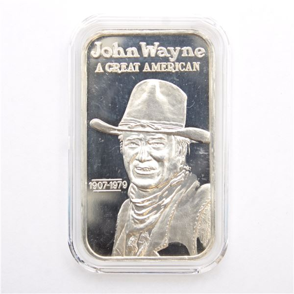 RARE! Greathouse Productions 'JOHN WAYNE' 1oz Fine Silver Art Bar (Tax Exempt)