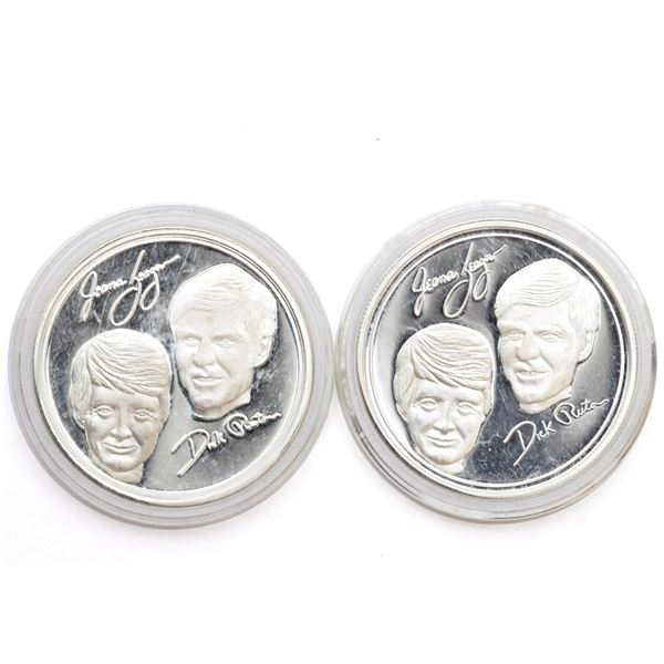 2x Flight of the Voyager 'Jeana Yeager' & 'Dick Rutan' 1oz Fine Silver Rounds (Tax Exempt) 2pcs.