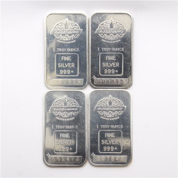 4x Vintage Engelhard 1oz Fine Silver Bars with 'Blank' Reverse (Tax Exempt) #007542, #002473, #00292