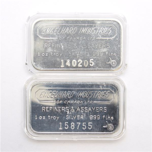 2x Engelhard Industries Canada 1oz '6-digit #' with Bull Mark Fine Silver Bars (Tax Exempt) Serial #