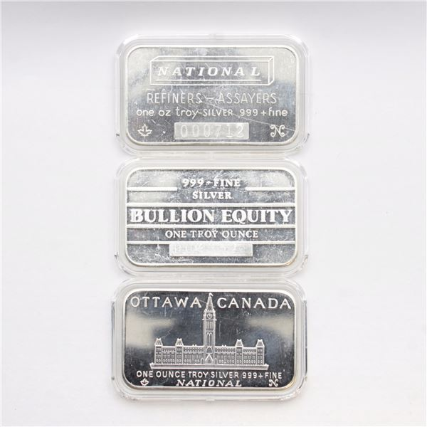3x Vintage National Refiners 1oz Fine Silver Bars (Tax Exempt) You will receive an OTTAWA Canada 1oz