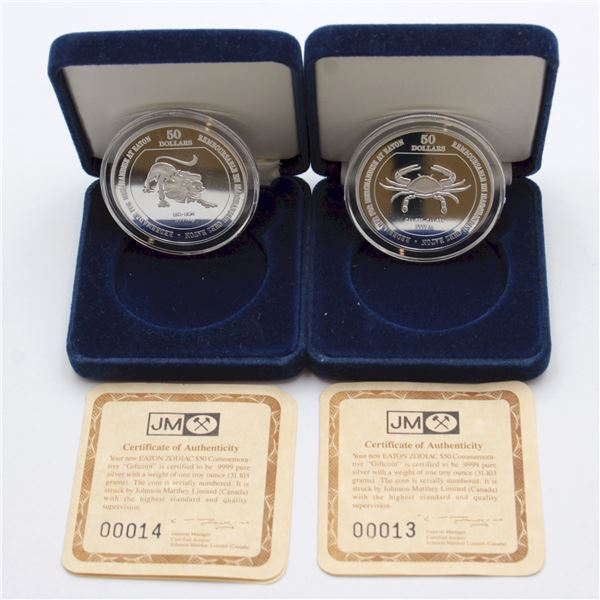 Pair of Eaton $50 1oz Silver Zodiac Commemorative Rounds Produced by Johnson Matthey. Lot includes C