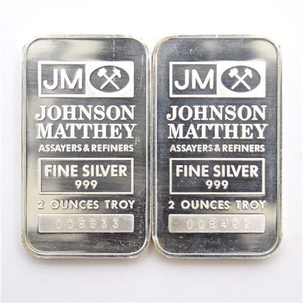 2x Johnson Matthey 2oz Fine Silver Bars with 'JM' Logo Reverse (Tax Exempt) Serial # 008533, # 00858
