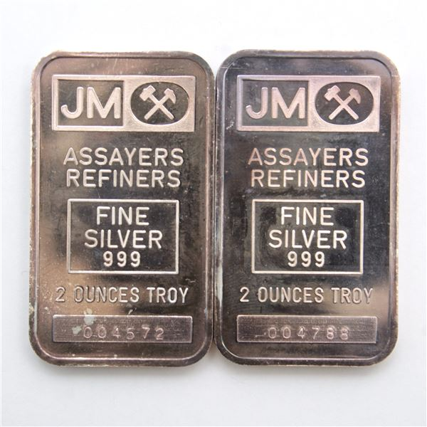 2x Johnson Matthey 2oz Fine Silver Bar with Triple Purity Line Stamping - Blank Reverse (TAX Exempt)