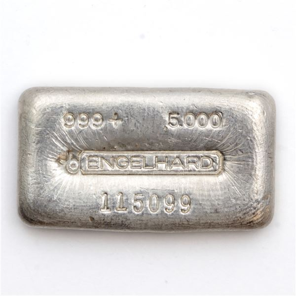 Engelhard 5oz '3rd Series' Canada Variation '6-digit # ' Poured Fine Silver Bar (Tax Exempt) Serial
