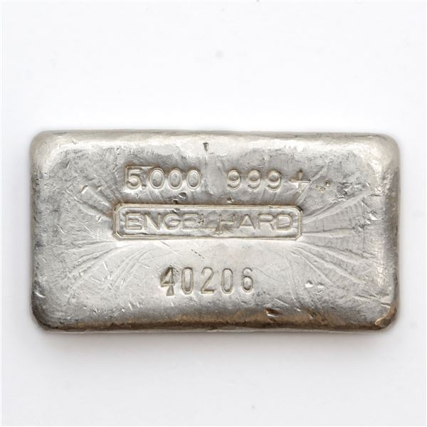 Engelhard 5oz '4th Series' Poured '5-digit # ' Fine Silver Bar (Tax Exempt) Serial # 40206.