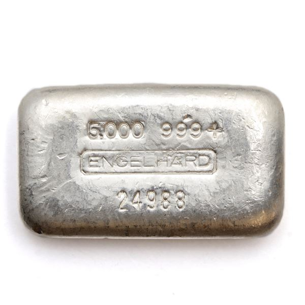 Engelhard 5oz '4th Series' Poured '5-digit # ' Fine Silver Bar (Tax Exempt) Serial # 24988.