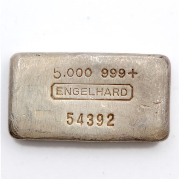 Scarce! Engelhard 5oz '6th Series' Fine Silver Bar (Tax Exempt) Serial # 54392.   Similar to other e