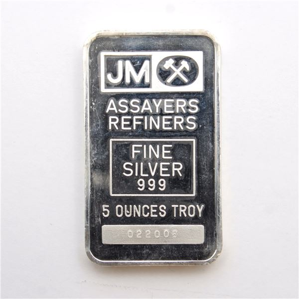 Johnson Matthey 5oz Fine Silver Bar with Bordered Blank Reverse (TAX Exempt) Bar contains triple pur