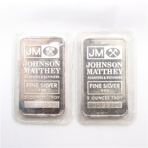 2x Johnson Matthey 5oz Fine Silver Bars with 'JM' Logo Reverse ( Tax Exempt) Serial # 059970, #06335