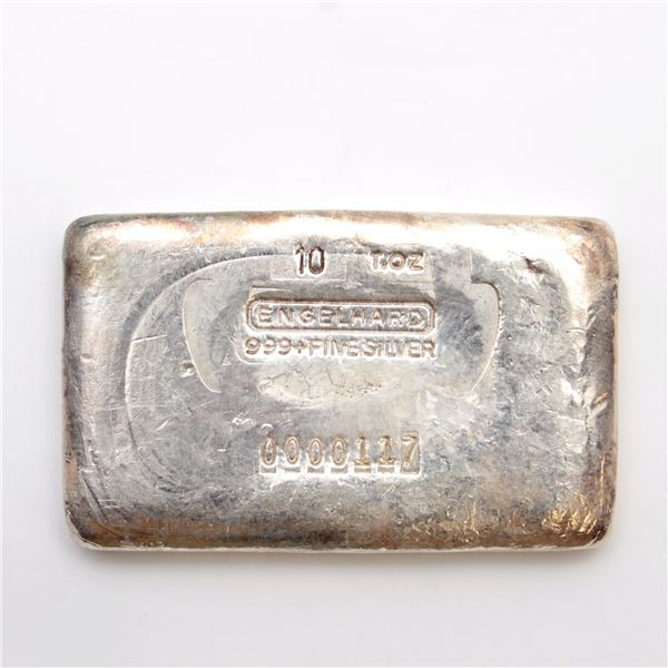 ULTRA RARE! Engelhard 10oz 5th Series '7-digit' Serial Variation Fine Silver Bar (Tax Exempt) Serial