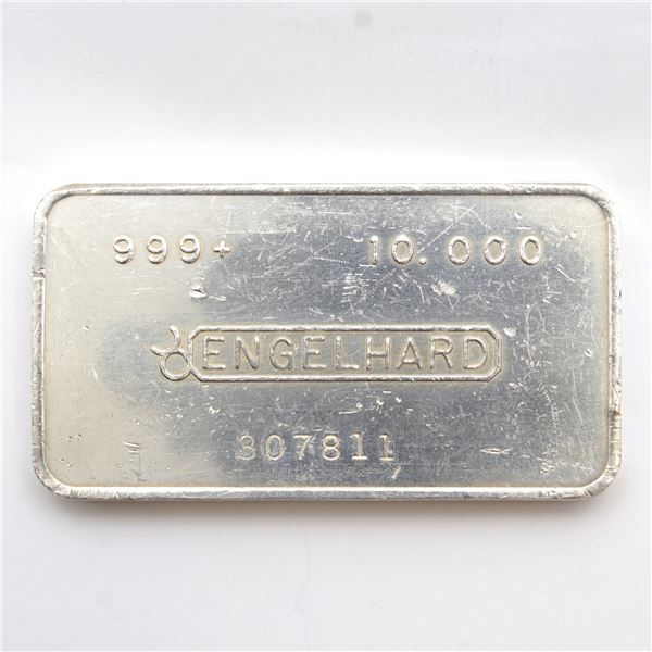 Scarce! Engelhard 10oz '2nd Series' Canadian Variation Fine Silver Bar (Tax Exempt) Serial # 307811.