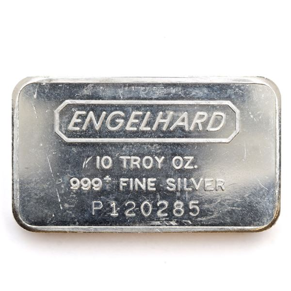 Engelhard 10oz 12th Series 'P Serial prefix' Fine Silver Bar (Tax Exempt) Serial # P120285.
