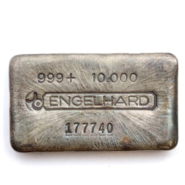 Engelhard 10oz '3rd Series' Canadian Variation Fine Silver Bar (Tax Exempt) Serial # 177740.  Bar co