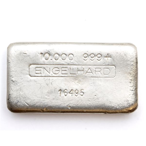 Engelhard 10oz '3rd Series' 5-digit Serial # Variation Fine Silver Bar (Tax Exempt) Serial # 16495