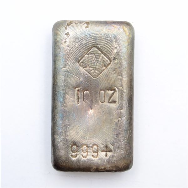 SCARCE Johnson Matthey 10oz Fine Silver Bar with Small Logo a Larger spaced '9' (Tax Exempt)