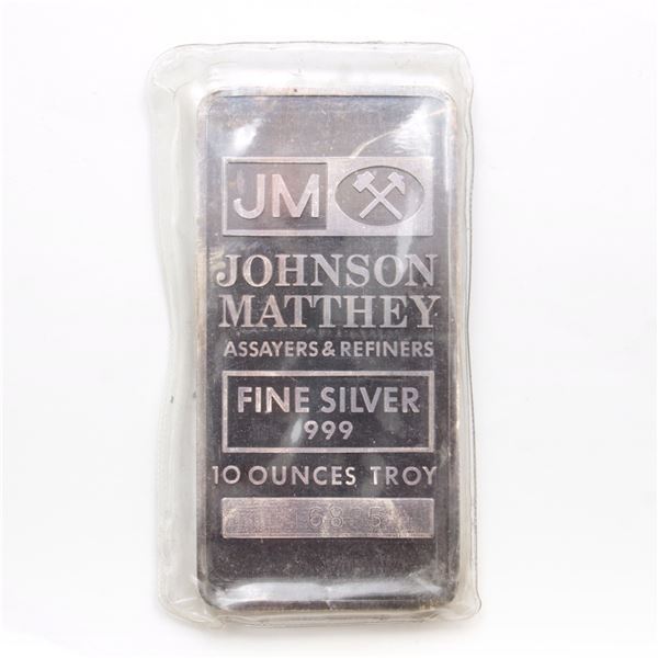 Johnson Matthey 10oz Fine Silver Bar with Smooth, Blank Reverse (Tax Exempt) Serial # 116835.
