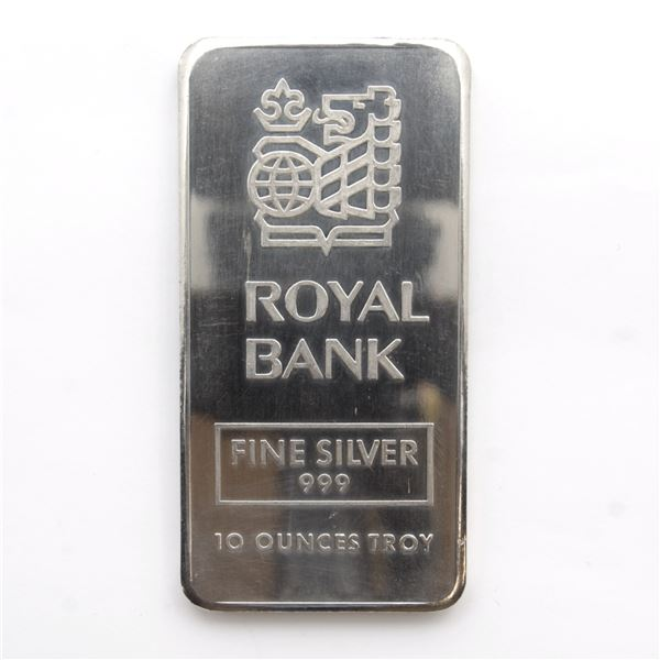 LOW SERIAL! RARE Johnson Matthey 10oz Royal Bank Fine Silver Bar (Tax Exempt) Serial # 000010.