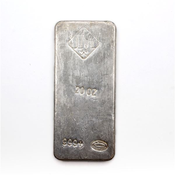 Scarce Johnson Matthey 20oz Fine Silver Bar with Reverse Stamping (Tax Exempt) This 20 oz bar is sim