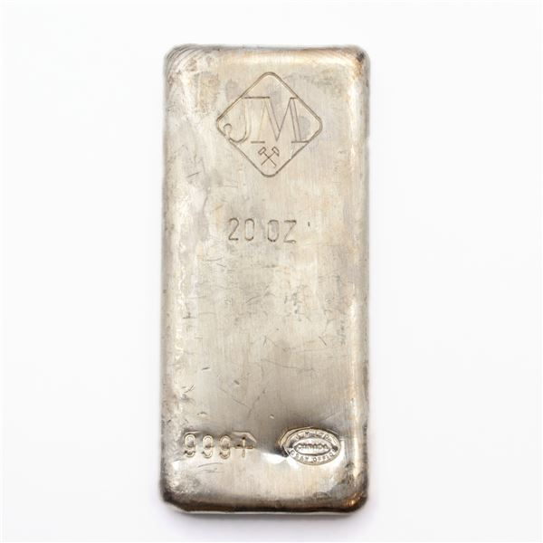 Johnson Matthey Canada 20oz Fine Silver Bar with 'Large Logo' (Tax Exempt)