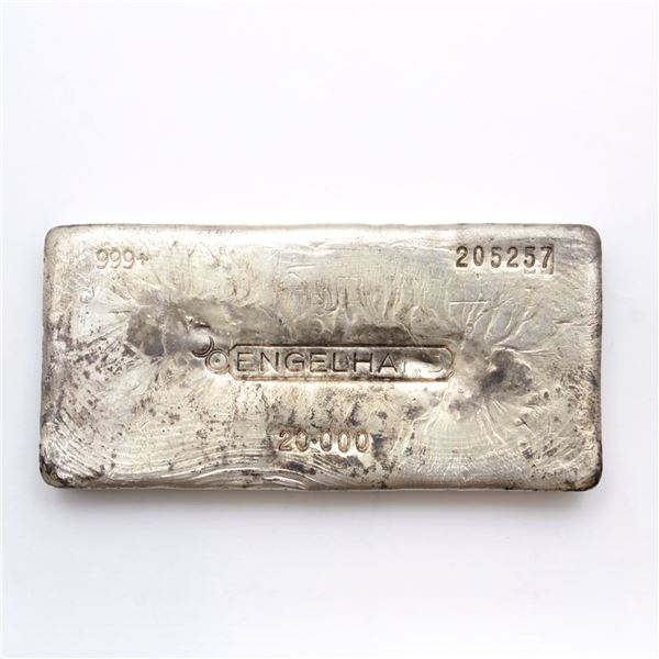 Engelhard Canada 20oz Fine Silver Bar (Tax Exempt) Serial # 205257. This unique bar measures 105mm l