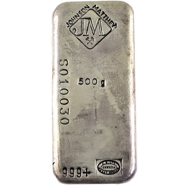 RARE! 500g Johnson Matthey old Pour Silver Bar with Diamnd JM Logo with Crossed hammers at Top cente