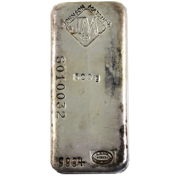 RARE! 500g Johnson Matthey old Pour Silver Bar with Diamond JM Logo with Crossed hammers